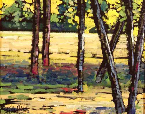 """Fall Lodge Poles"" 8 x 10 Oil on canvas $400"