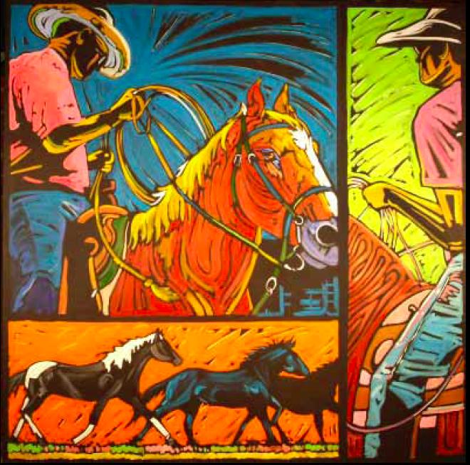 """""""Ready, Set, Go"""" 48 x 48 Oil on canvas"""