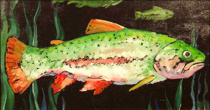 """Thomas the Trout"" 13 x 24 Oil on canvas $1,500"