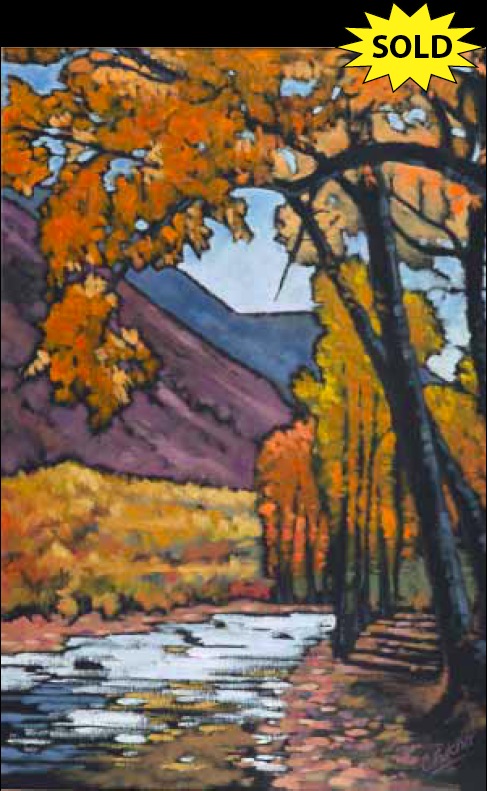 """""""Under a Canopy of Yellow"""" 24 x 36 Oil on canvas"""